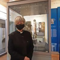 The Very Rev'd Dr Sarah Rowand Jones, Dean of St Davids Cathedral, with crozier on display in Cathedral Treasury. © St Davids Cathedral
